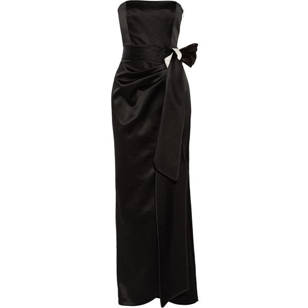 Raoul Drew bow-embellished satin gown (€330) ❤ liked on Polyvore featuring dresses, gowns, black, slimming dresses, raoul dress, satin dress, satin ball gown and satin evening gown