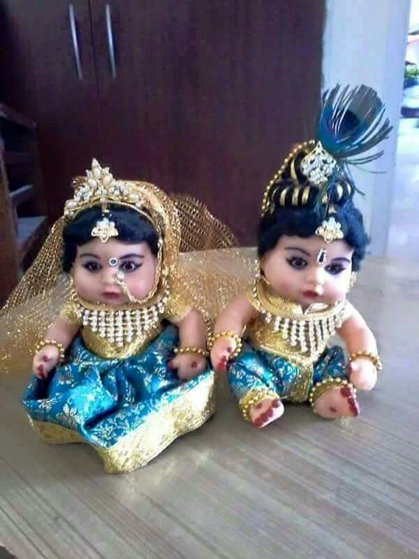 cute baby dolls as radha krishna dolls in indian dress