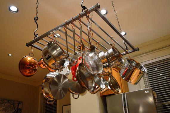 Modern Hanging Pot Rack - Large | Pot rack hanging ...