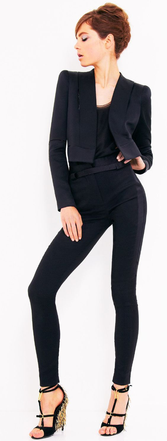 Designer fashion   Tom Ford skinny high waisted trousers and crop blazer