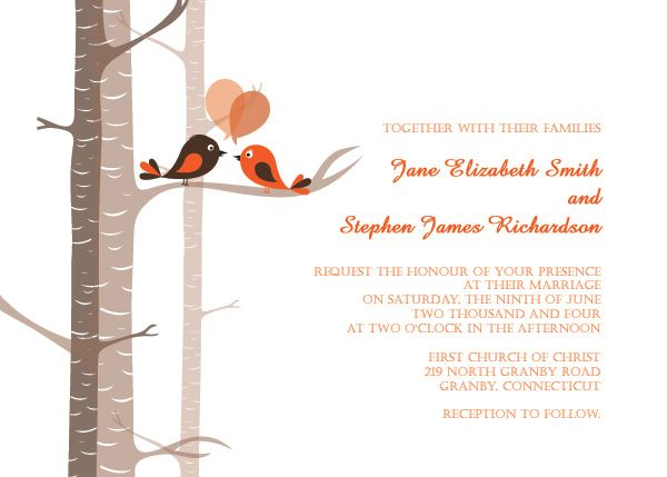 love bird wedding invitation template - tea length invitation, Wedding invitations