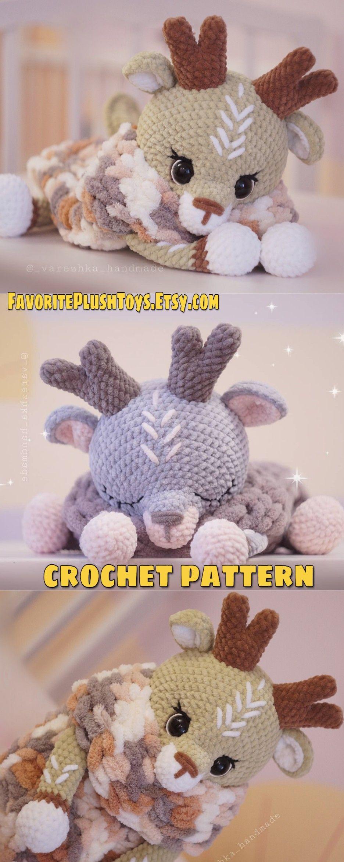 Amigurumi reindeer pattern, crochet deer tutorial, big deer 20 inch, pajamas cases, velvet yarn toy