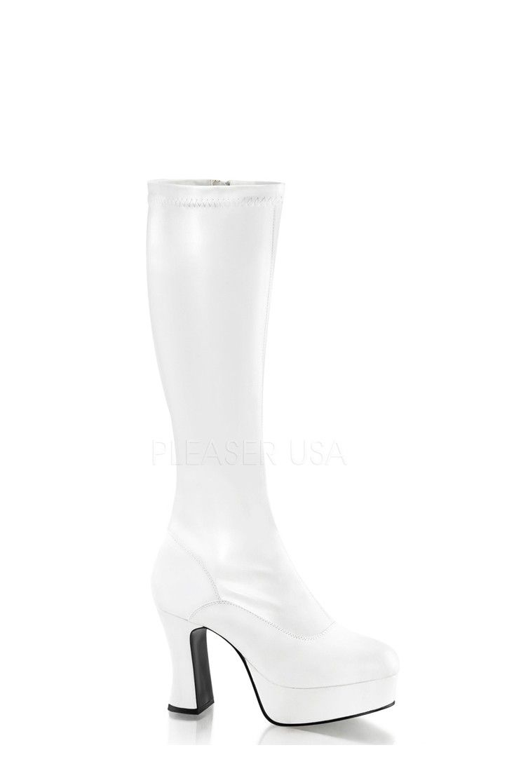 3c93b258e74a White Chunky Platform GoGo Boots Faux Leather in 2019
