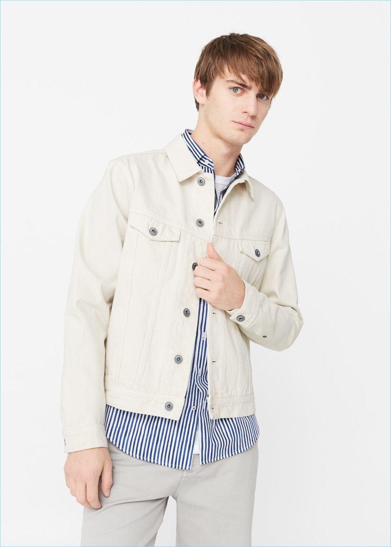 What To Wear Now Mango Man Summer Style Inspiration Denim Jacket Men White Denim Jacket Mens Fashion Summer