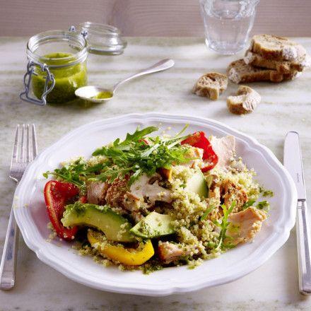 Sesam-Lachs auf Quinoa-Salat mit Salsa Verde Rezept