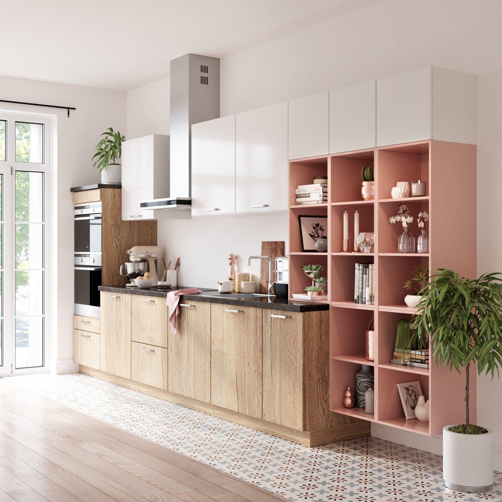 Cuisine Ouvertes Avec Des Meubles Bas En Bois Clair Des - But meuble bas cuisine pour idees de deco de cuisine