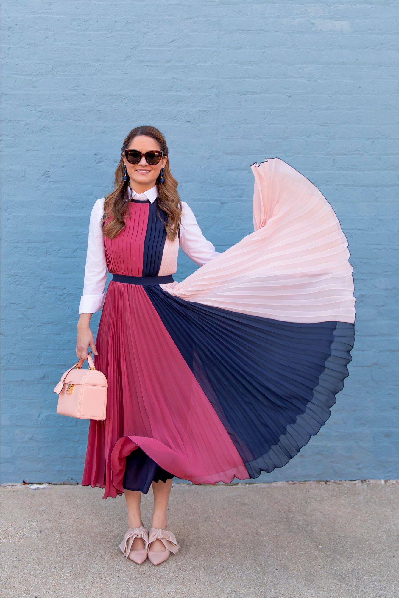 5f03c8d537e025 Jennifer Lake Dress Flick featuring Halogen Atlantic-Pacific Color Block  Pleated Midi Dress