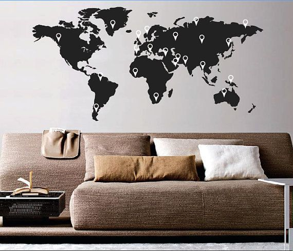 Large world map wall decal sticker 7ft x 347ft vinyl wall stickers large world map wall decal sticker 7ft x 347ft vinyl wall stickers decals with pins gumiabroncs Image collections