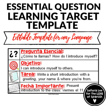 Essential Question Learning Target Template in Spanish and English - bus ticket template