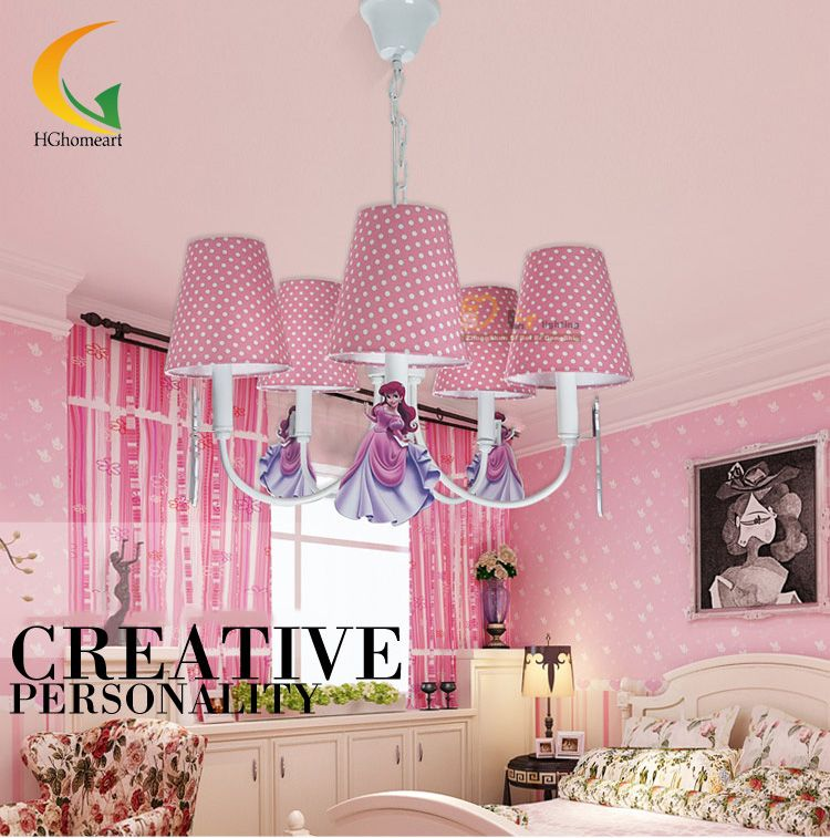 Goedkope Leuke roze kinderen Led kroonluchters home verlichting ...