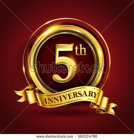 Celebrating 5th Golden Anniversary Five Years Birthday Logo Celebration With Gold Ring And Golden Birthday Logo 50th Golden Anniversary Happy 23rd Anniversary