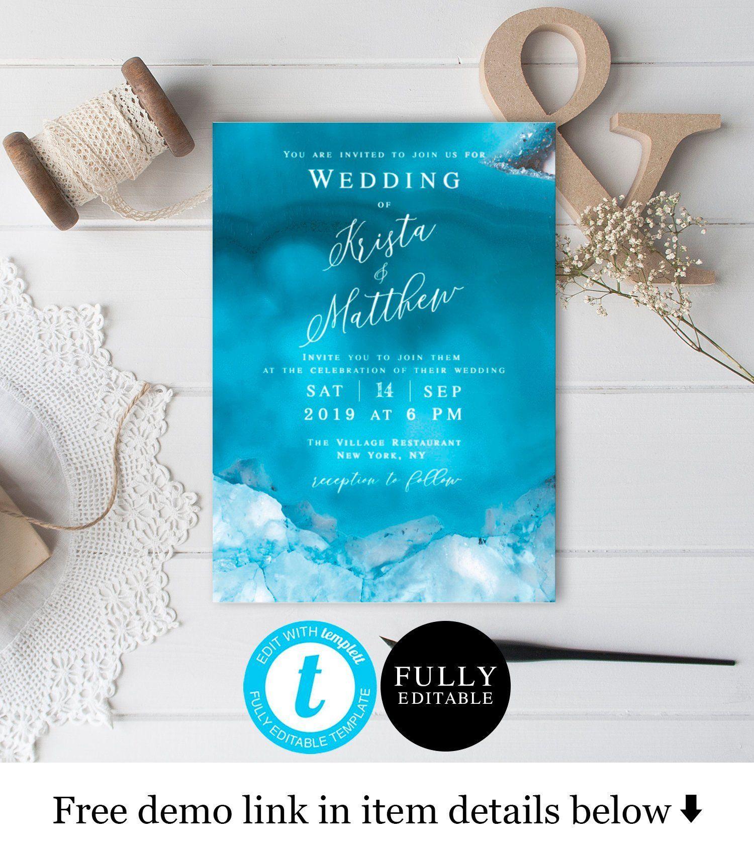 Blue Wedding Invitation Template Fully Editable Templett Instant