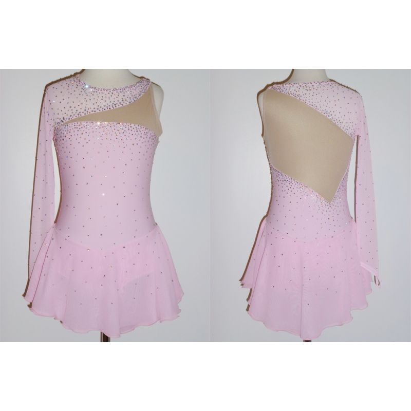 Competition Ice Figure Skating Dress Pink Long-sleeve Custom Made T482