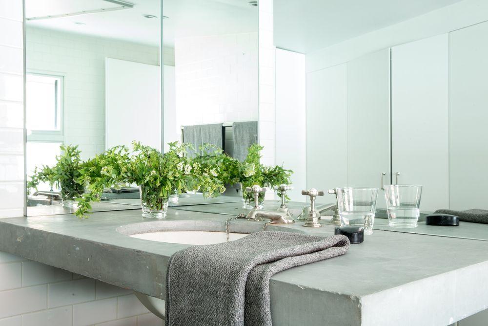 Modern Master Bathroom with Master bathroom, Signature Hardware Low-Level Widespread Bathroom Faucet, European Cabinets