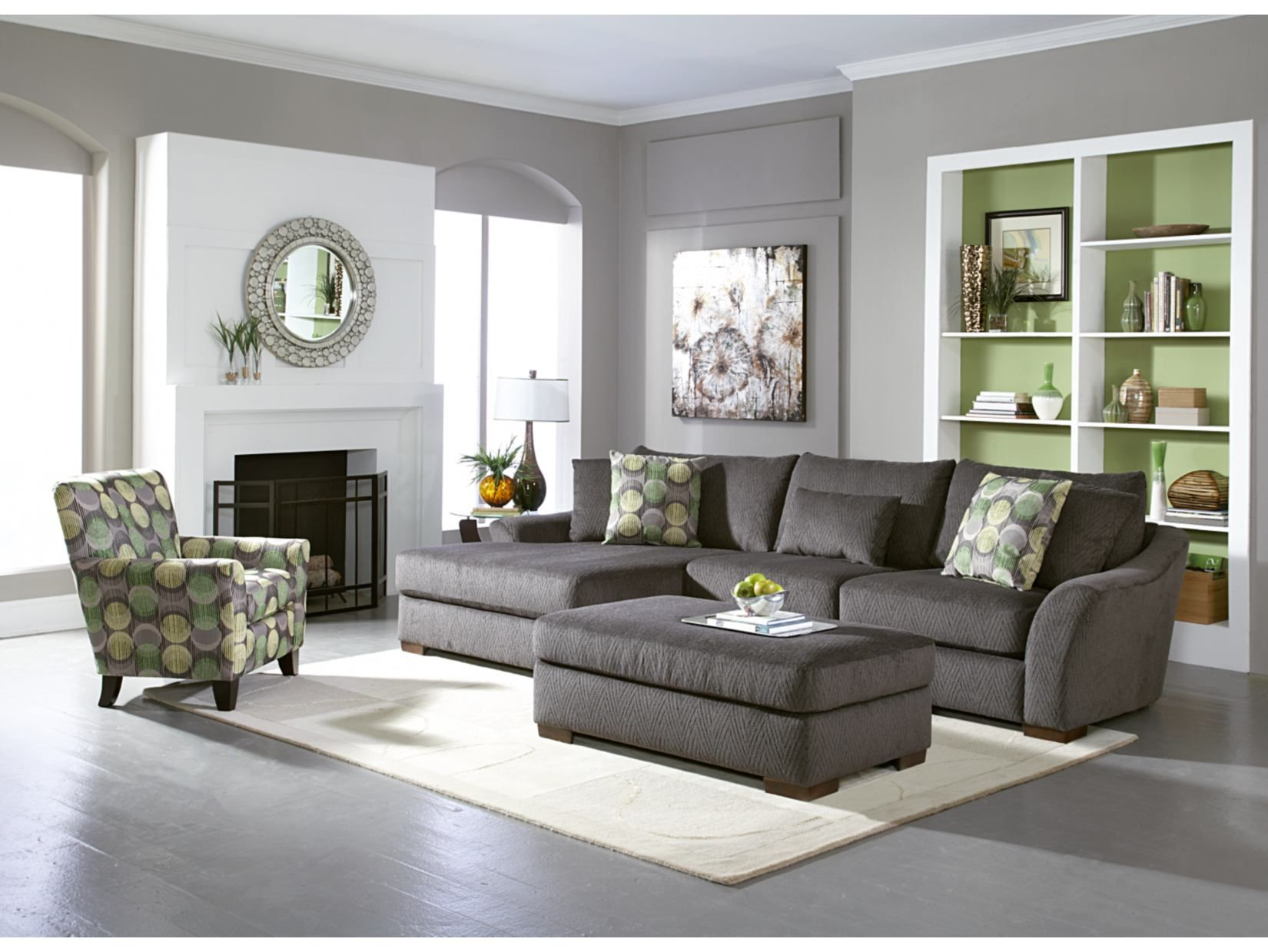 Oasis grey 2 pc sectional american signature furniture for Latest drawing room furniture