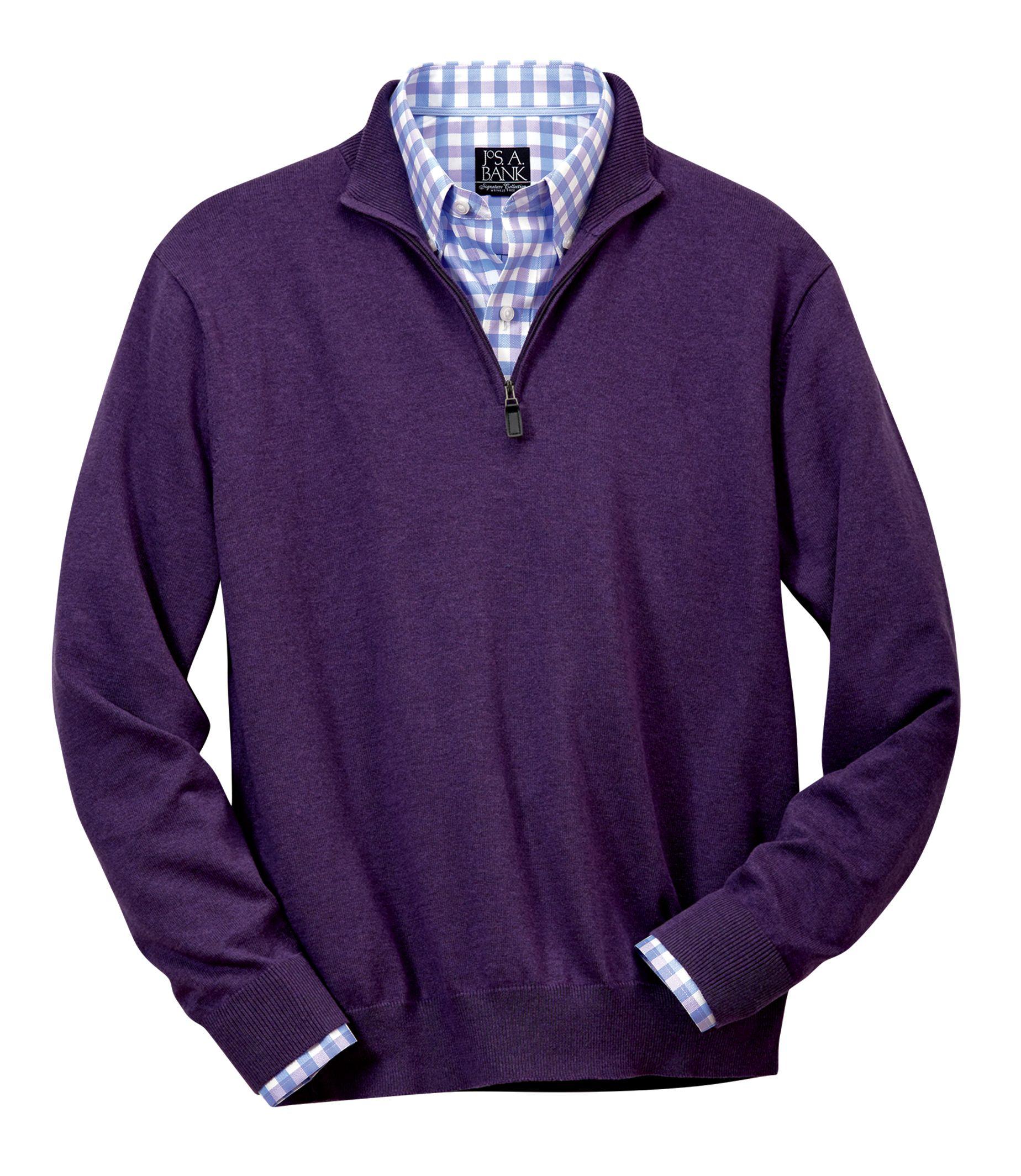 Signature Pima Cotton Half-Zip Sweater Big/Tall CLEARANCE | Zip ...