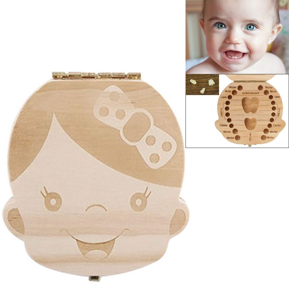 Kids Boy/&Girl Tooth Box Wood Storage Organizer Baby Save Milk Teeth Collecting