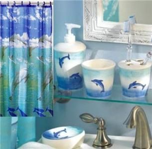 complete 6 pc set leaping dolphin bathroom with shower curtain tumbler. Black Bedroom Furniture Sets. Home Design Ideas
