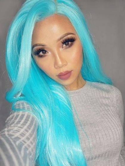 Long Turquoise Synthetic Lace Front Wig Gallery