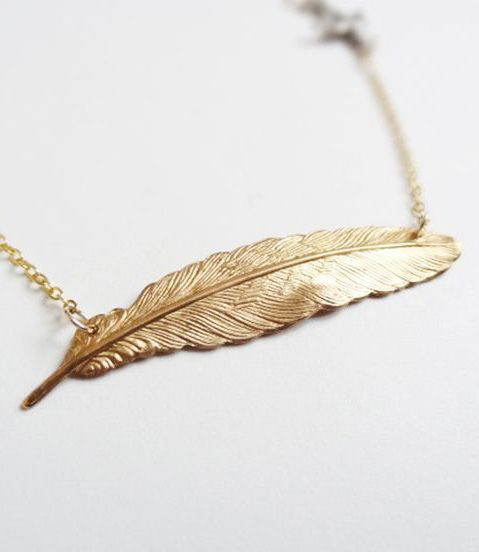 sterling silver bird and brass feather necklace