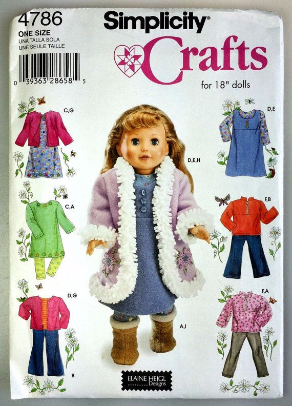 Simplicity 4786 18 In American Girl Doll Clothing Sewing Pattern New ...