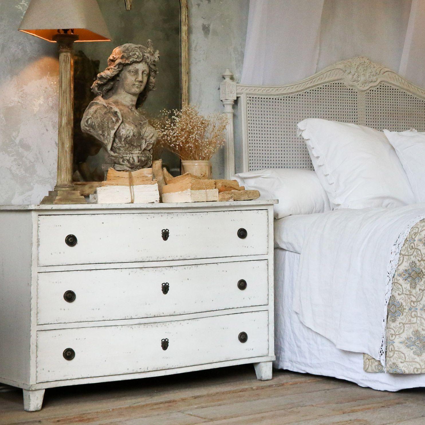 Swedish bedroom decor. Gustavus dresser. Swedish decor inspiration, French and Gustavian Design Style from Eloquence. #swedish #interiordesign #frenchcountry #gustavian #nordic #decoratingideas #whitedecor #eloquence #furniture