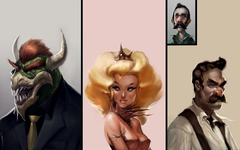 Bowser, Peach, Mario, Luigi Alternative Art Wallpaper