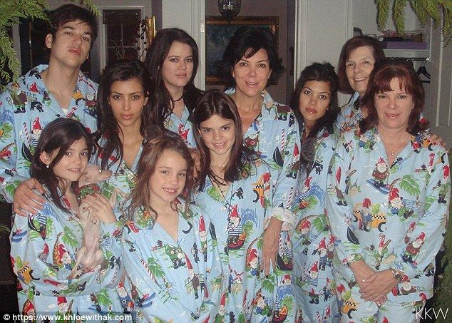 Pajama party! Kim Kardashian s website posted a throwback from Christmas  Eve 2006 as her family - including (L-R) Rob Kardashian 4bffc6968