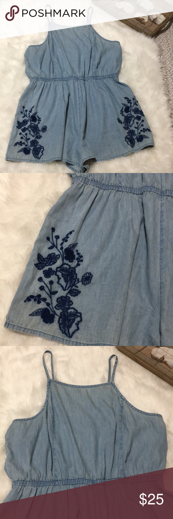 a7d89f806f6 Mossimo Supply Co Embroidered Denim Romper Sz XXL Mossimo supply co denim  jean embroidered romper size XXL in excellent condition. Mossimo Supply Co.  Pants ...