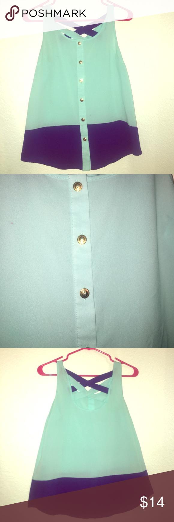 Seafoam green & royal blue blouse, SZ small | Royal blue color ...