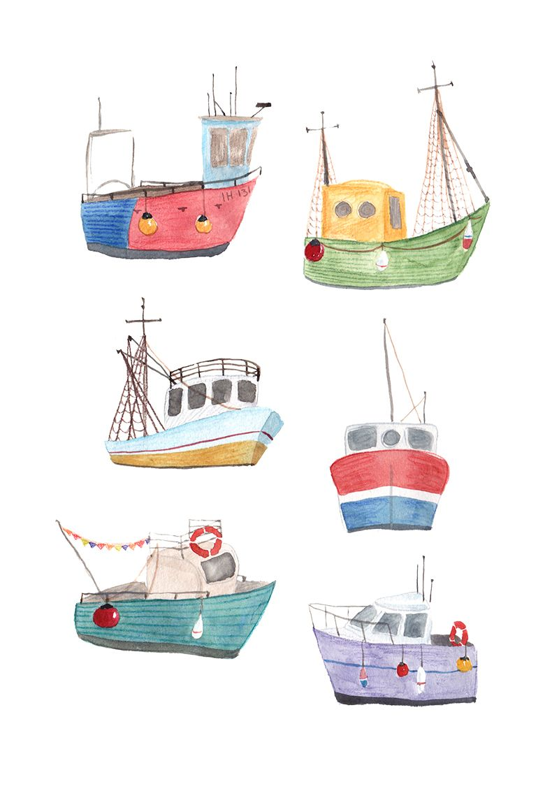 Watercolour fishing boats illustration jesshinsley for How to draw a fishing boat