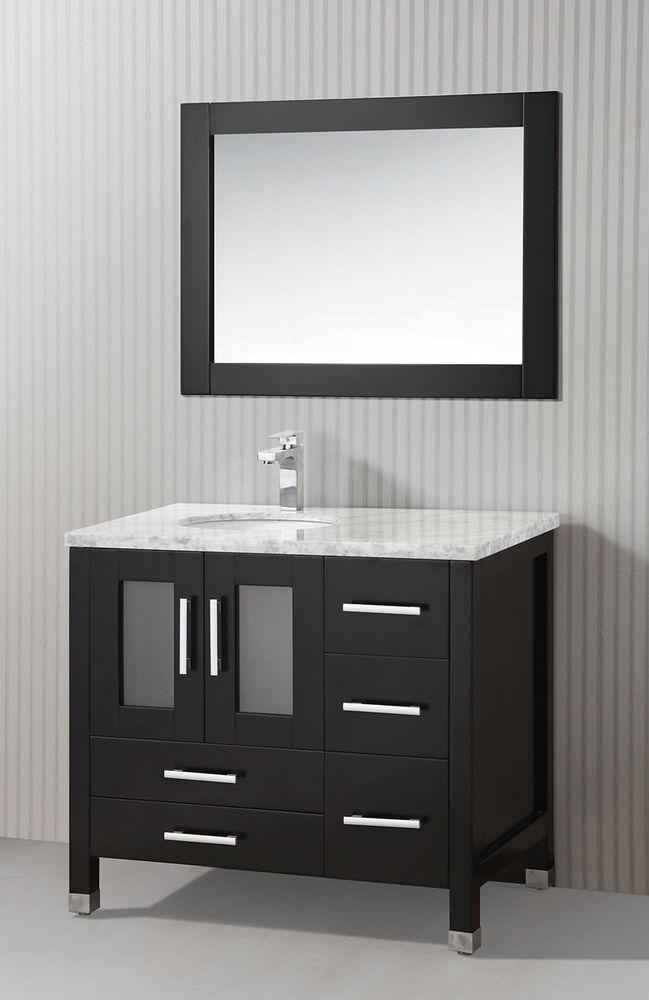 36 Inch Single Sink Modern Espresso Vanity With Mirror Item