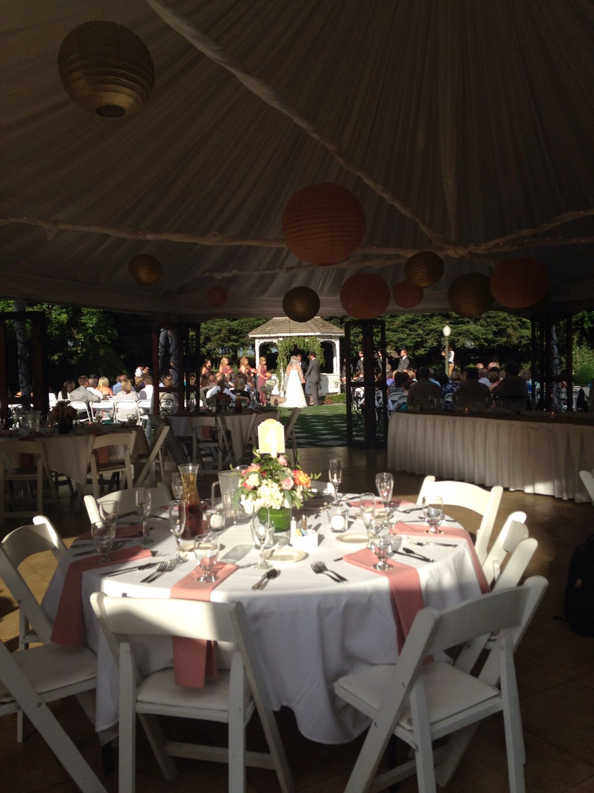 wedding with dusty rose accents Table