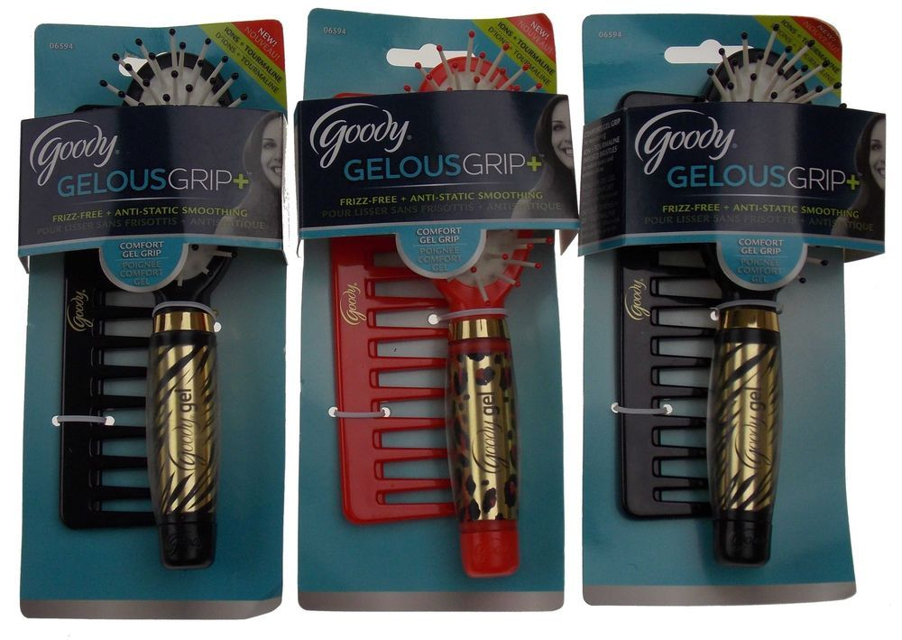 Lot 3 Goody Hairbrush Gelous Gel Grip Rake Comb Ion Infused Bristles Frizz Free #Goody