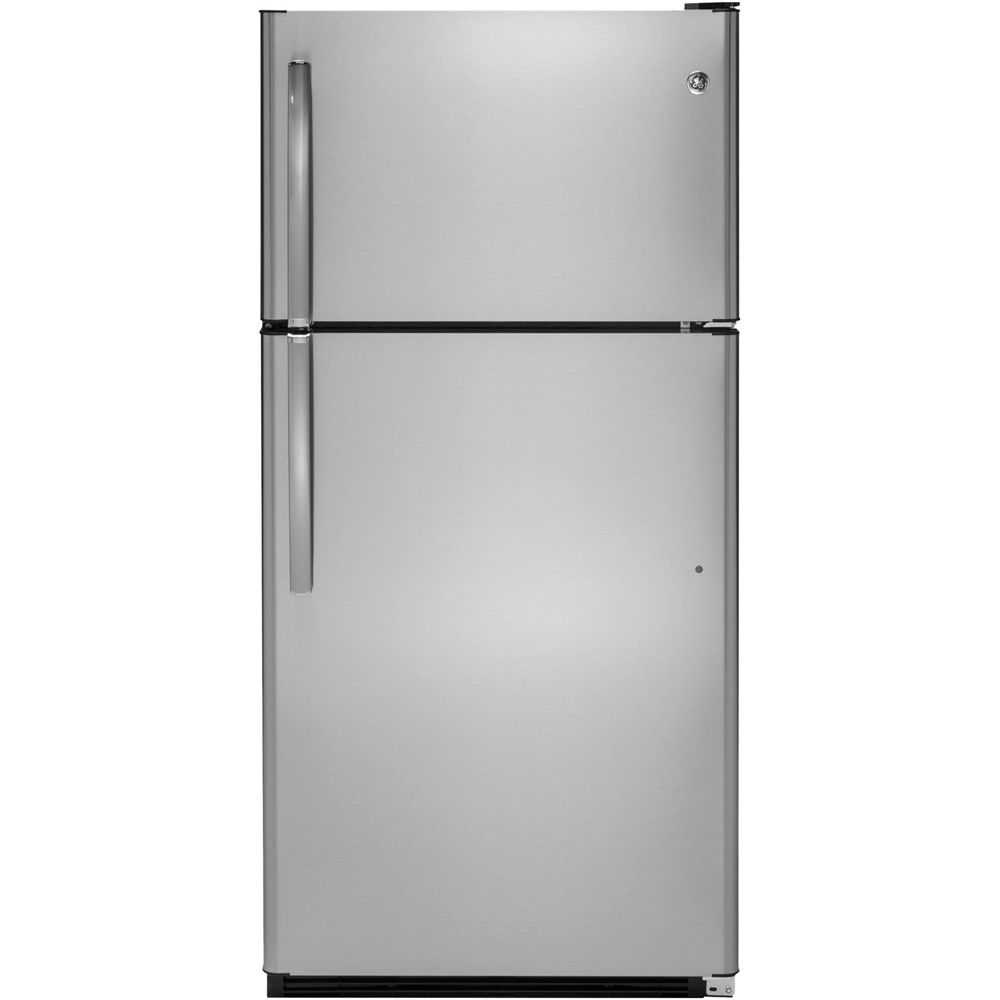 GE - 20.8 Cu. Ft. Top-Freezer Refrigerator - Stainless steel (Silver)