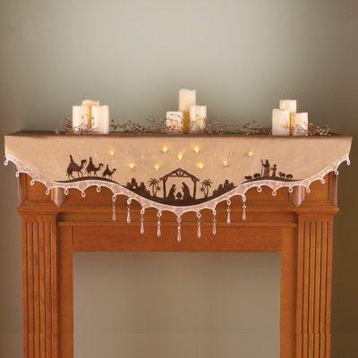 Lighted Nativity Mantel Scarf