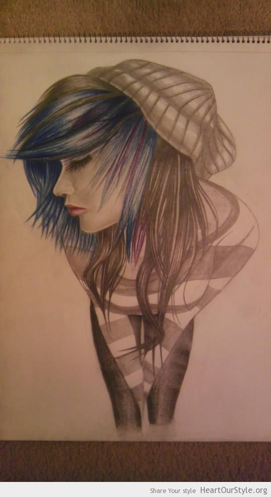 """Scene"" girl drawing. Go fuck yourselvessssssssssssssss - Heart Our Style - blue drawing emo scene sketch"