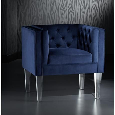 amply padded this plush button tufted velvet accent chair in navy blue with crystal clear