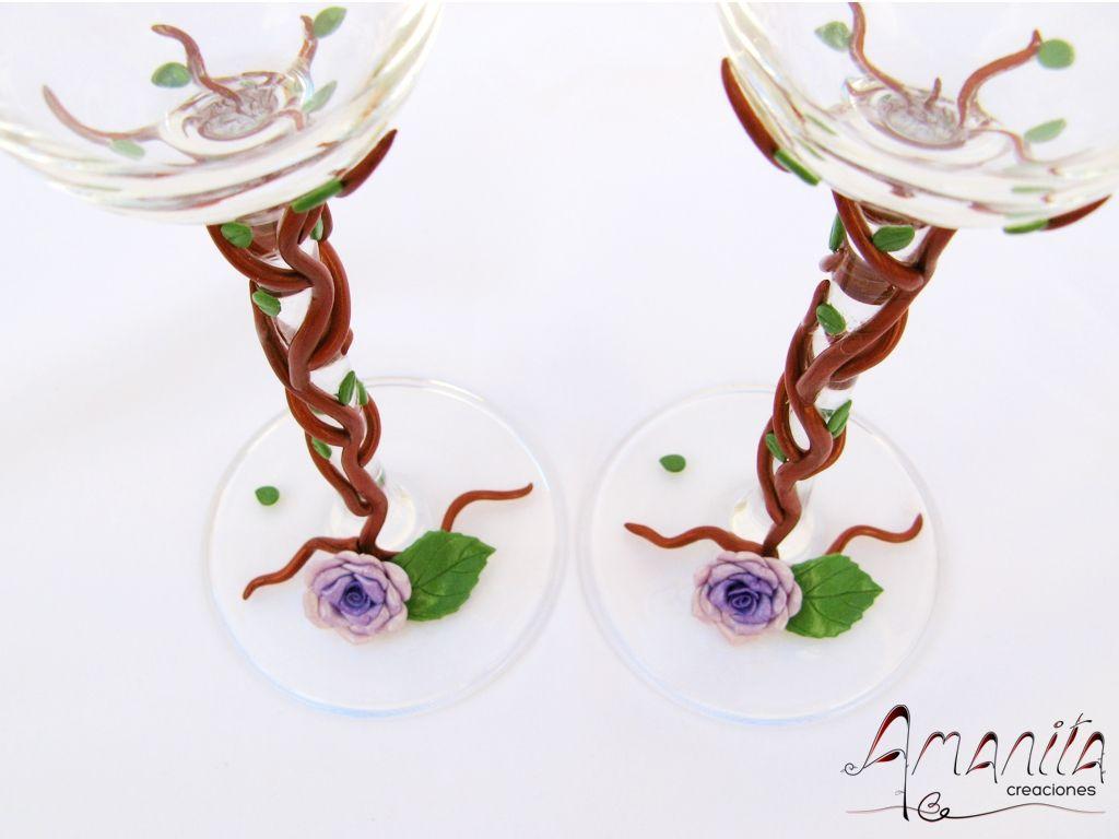 Copas de boda decoradas con arcilla polim - Ramas decoradas ...