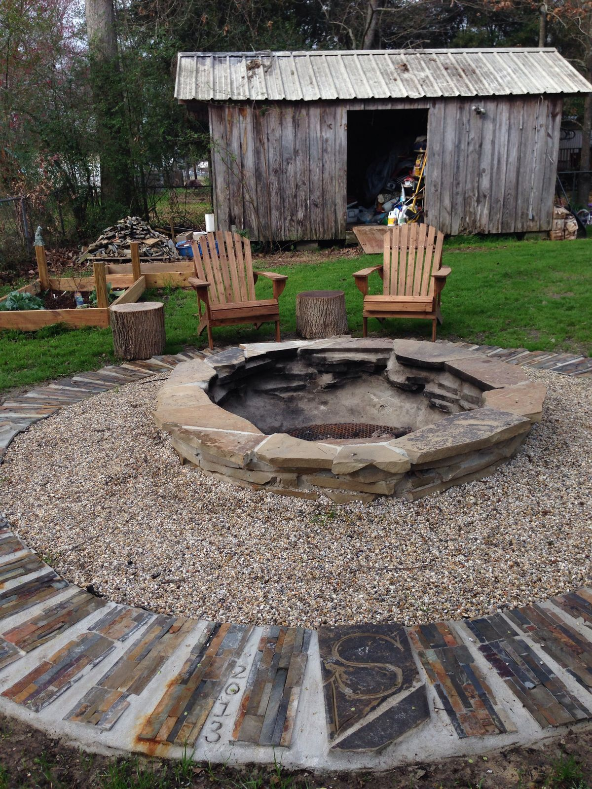 fire pit diy flagstone home pinterest flagstone backyard and