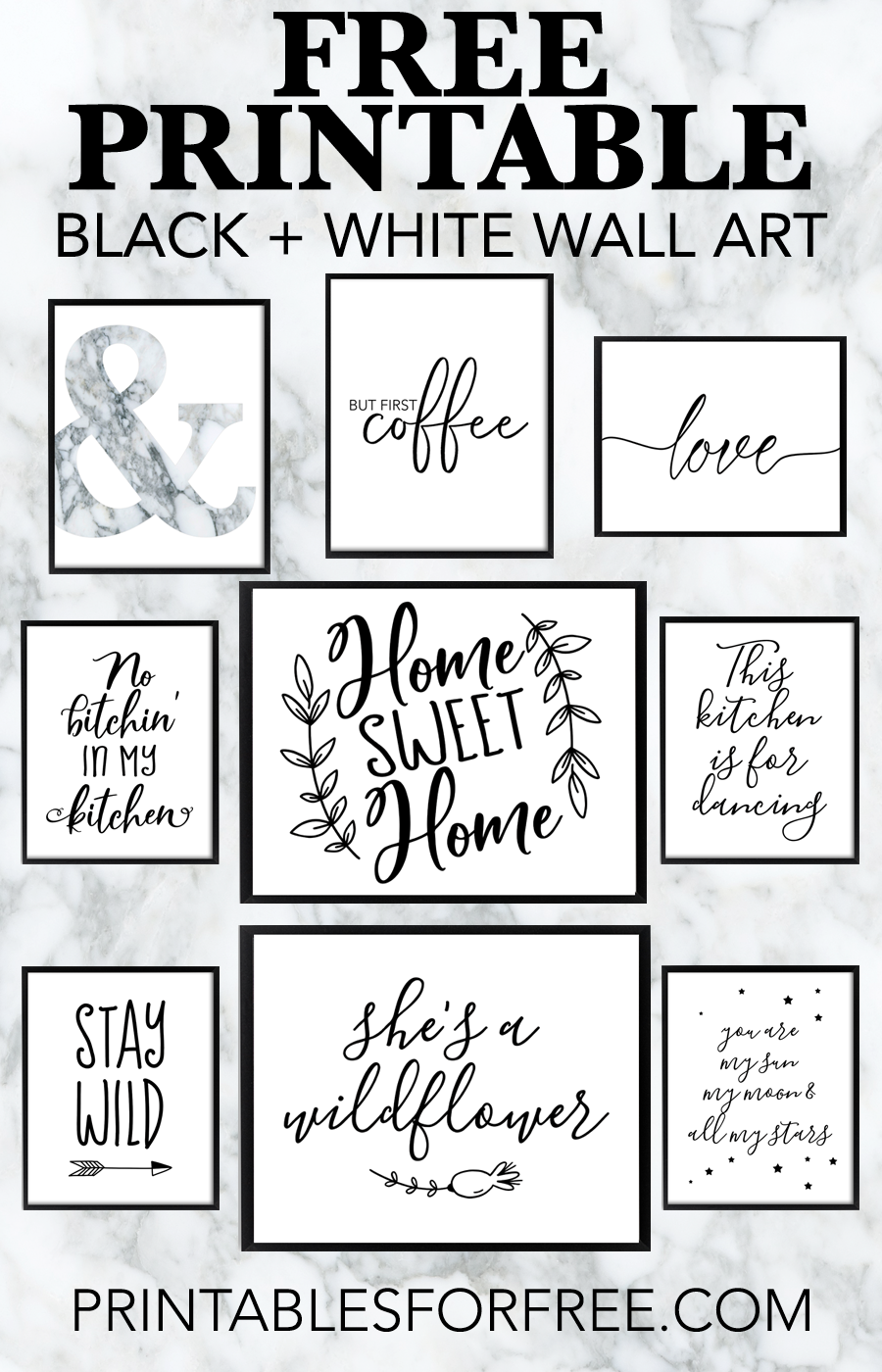 Free Printable Black and White Wall Art - download and print your own wall art for your home decor and office decor #freeprintable #wallart #blackandwhiteart #blackandwhite #black