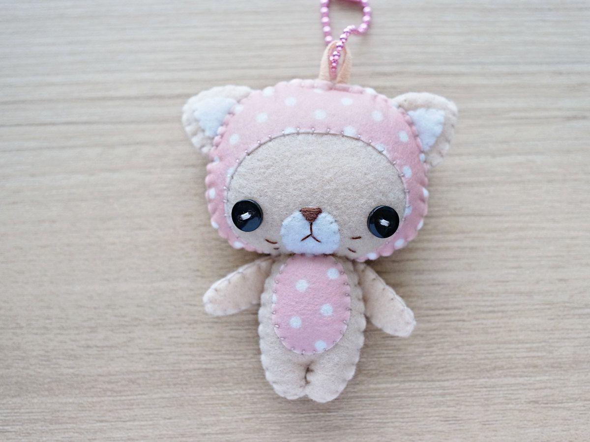 Felt Keychain Valentine Gift cute by WeLoveStitches on Etsy