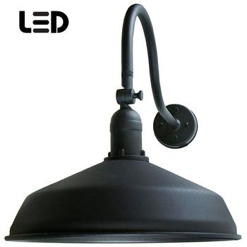 Black metal gooseneck barn light led barn lighting adlxsv925 our most popular outdoor lighting gooseneck reliable durable and stylish it will last an unbelievable amount of time and look great doing it aloadofball