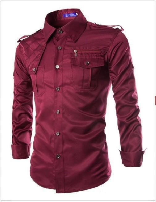 f0d337326cb Men Military Style Slim Fit Shirt With Pockets Red