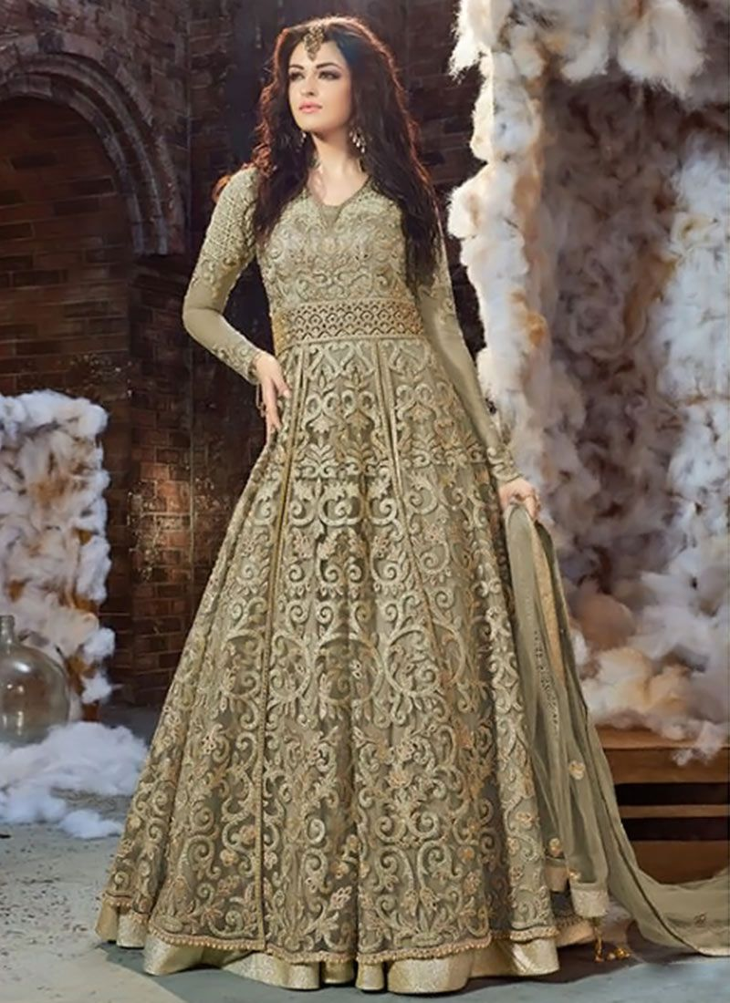 8884ea66a3 Buy Grey Net Layered Anarkali Suit, Embroidered, anarkali suit Online  Shopping | SLSCC18001B