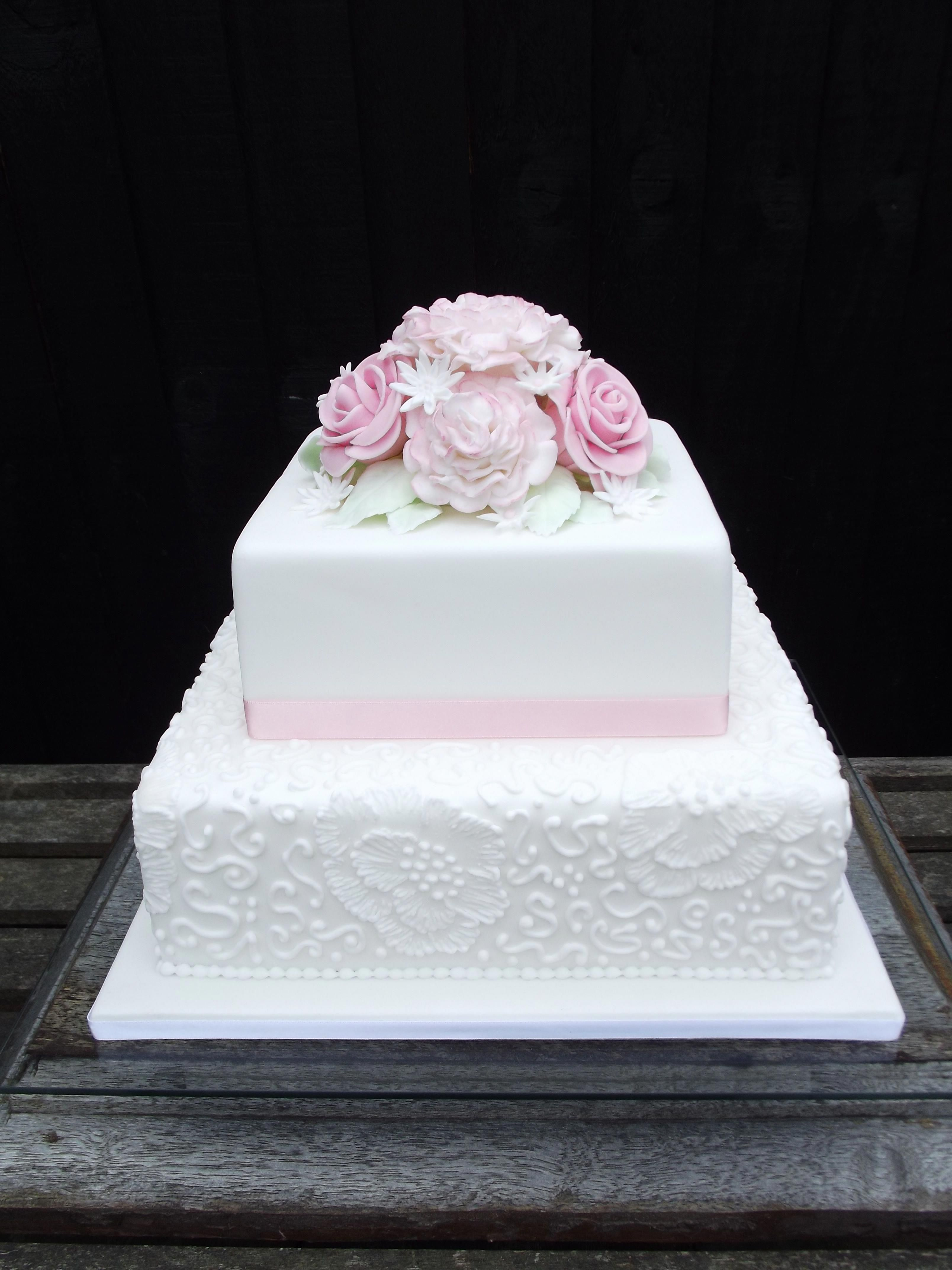 Naked Square Tiered Wedding Cake With White Roses