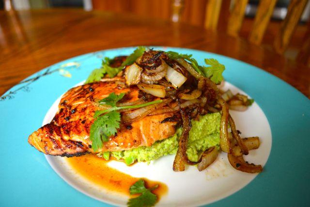 Seared Asian Salmon with Caramelized Onions and Lemon-Cilantro Edamame Puree