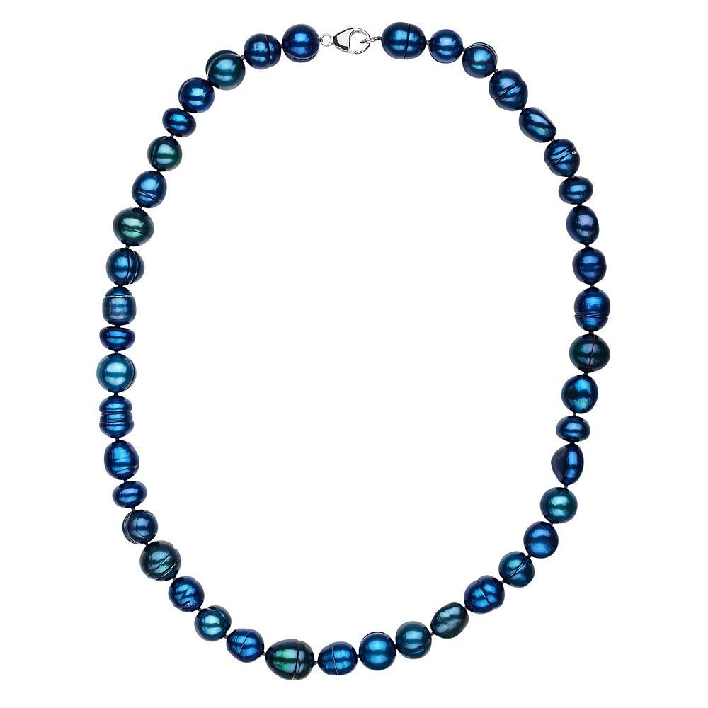 Freshwater by Honora Dyed Freshwater Cultured Pearl Necklace in Sterling Silver (9-11 mm), Blue