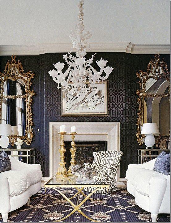salon bleu marine or | Interiors - navy | Pinterest | Neutrale farbe ...