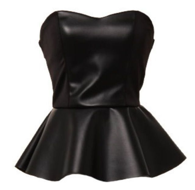 79ada0adf96 Leather strapless top black